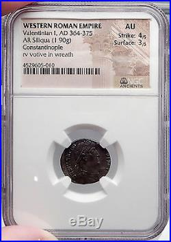VALENTINIAN I 364AD Authentic Ancient SIlver Roman Siliqua Coin NGC Certified AU