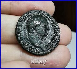 VERY RARE Ancient Roman Imperial Titus 72 AD Judea Capta Issue Bronze As Coin