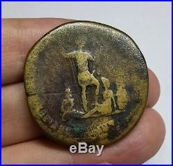 VERY RARE (R2) Ancient Roman Imperial Trajan 116 AD Bronze Sestertius Coin