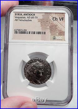 VESPASIAN 69AD Ancient Silver Roman Tetradrachm Coin Antioch Eagle NGC i60112
