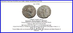 VESPASIAN 76AD Rome FELICITAS Luck Goddess Authentic Ancient Roman Coin i57906
