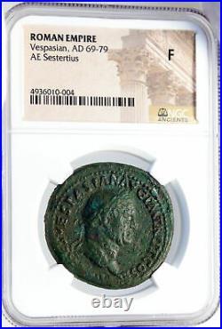 VESPASIAN Authentic Ancient 72AD Rome SESTERTIUS Roman Coin LIBERTAS NGC i82623