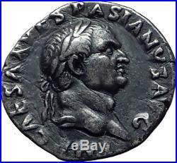 VESPASIAN Original 70AD Rome Authentic Ancient Silver Roman Coin PAX i65265