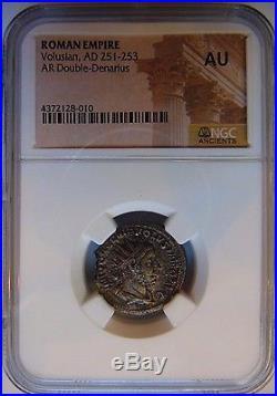 VOLUSIAN Roman Empire 251-253 NGC AU Double Denarius Ancient Coin Volusianus