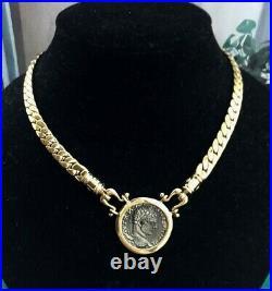 VTG CAROLEE DESIGNER FAUX ANCIENT ROMAN COIN PENDANT NECKLACE 80s RARE