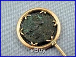 Victorian 14K Rose Gold Stick Pin & Ancient Roman Coin W Soldier