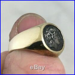 Vintage 14k gold Greek or Roman antiquity ancient coin ring