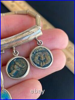 Vintage Artist Sterling Silver Roman Ancient Coin Opal Necklace Pendant 18