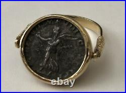 Vintage Estate. 750 18k Yellow Gold Ancient Roman Coin Reversible Ring Size 8