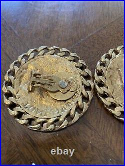 Vintage Kirks Folly Earrings Large Ancient Roman Coin Clip Ons Unique Rare