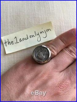 Vintage Men's Silver SS Ring f/ Ancient Denarius Roman Emperor Coin Size 8 RARE
