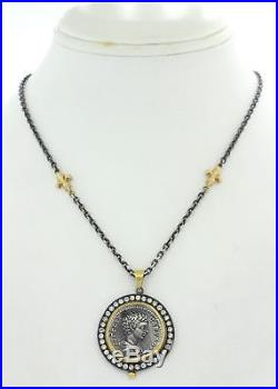 Vtg Estate 24k Yellow Gold Silver Ancient Roman Coin Diamond Pendant Necklace J8