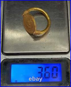 Wonderful Ancient Roman 20k Gold Ring With Unique Roman 1st King Antique Coin